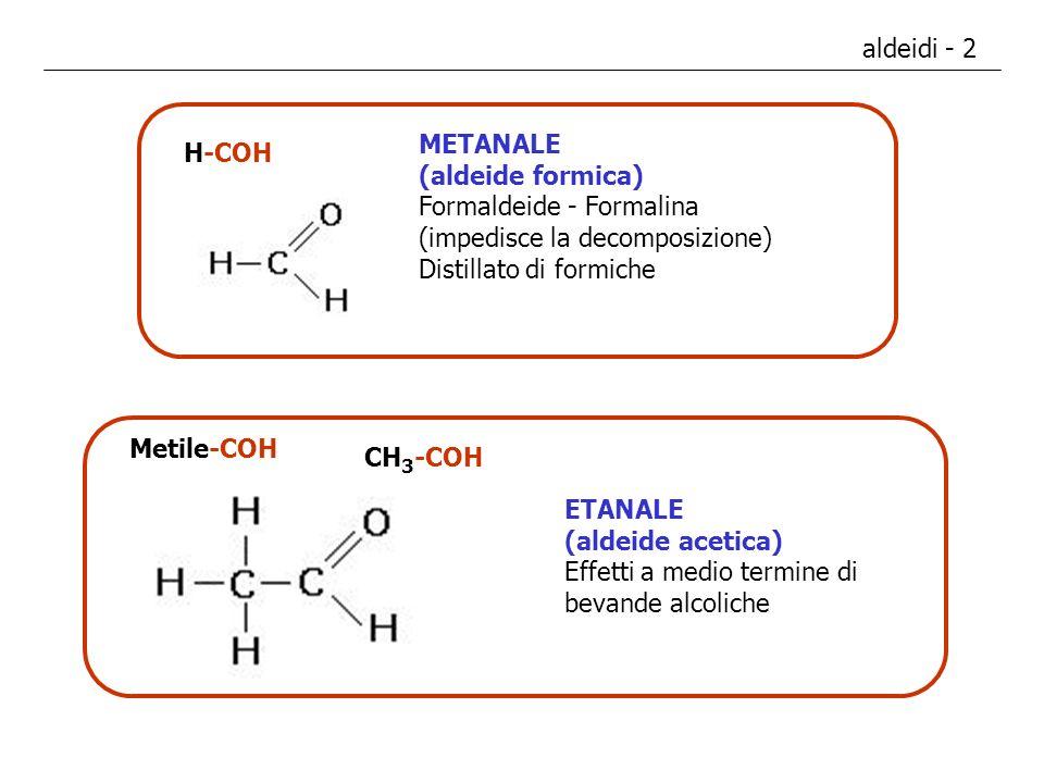 aldeidi - 2 H-COH METANALE (aldeide formica) Formaldeide - Formalina (impedisce la decomposizione) Distillato di formiche Metile-COH ETANALE (aldeide