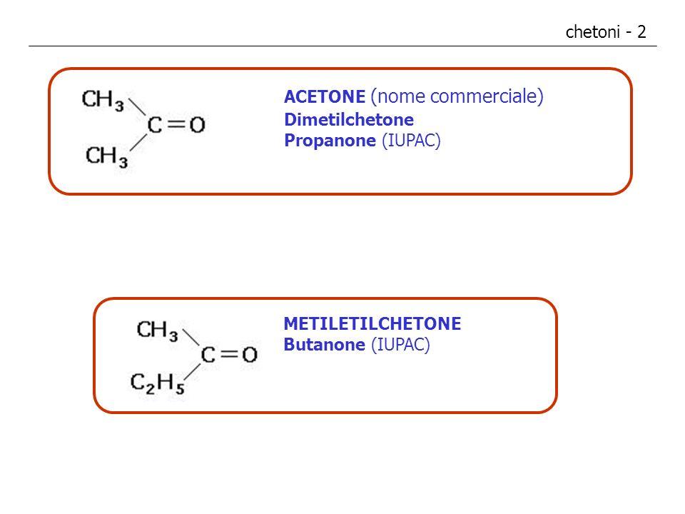 chetoni - 2 ACETONE (nome commerciale) Dimetilchetone Propanone (IUPAC) METILETILCHETONE Butanone (IUPAC)