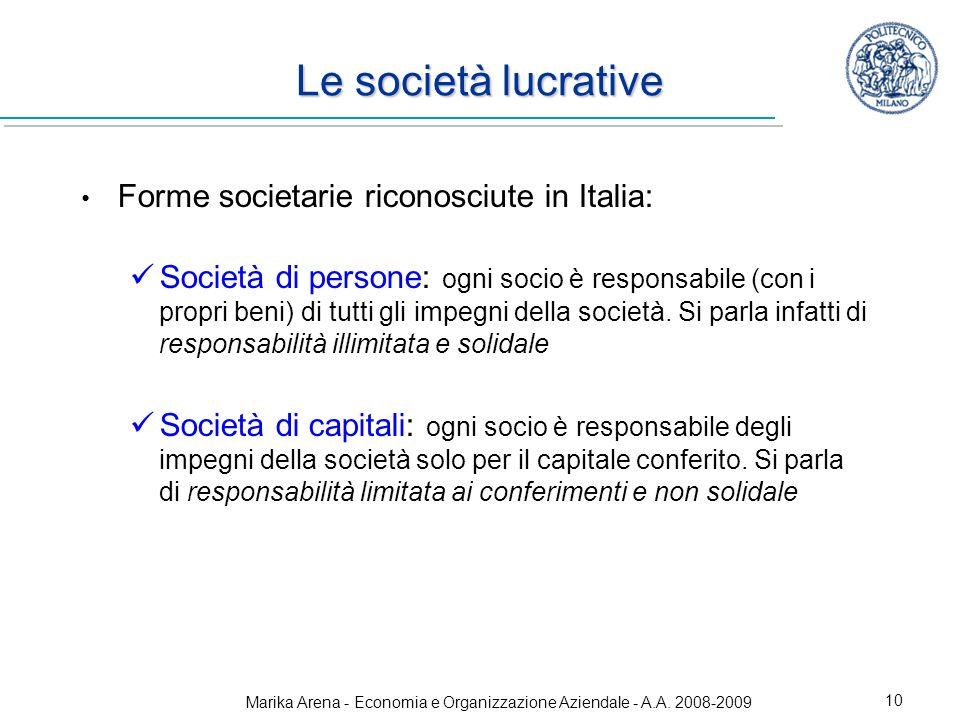 Marika Arena - Economia e Organizzazione Aziendale - A.A. 2008-2009 10 Le società lucrative Forme societarie riconosciute in Italia: Società di person