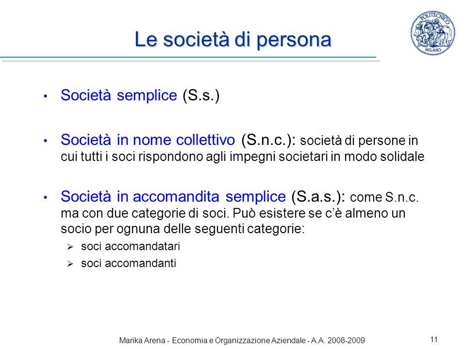 Marika Arena - Economia e Organizzazione Aziendale - A.A. 2008-2009 11 Le società di persona Società semplice (S.s.) Società in nome collettivo (S.n.c
