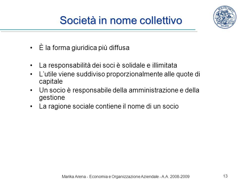 Marika Arena - Economia e Organizzazione Aziendale - A.A. 2008-2009 13 Società in nome collettivo È la forma giuridica più diffusa La responsabilità d