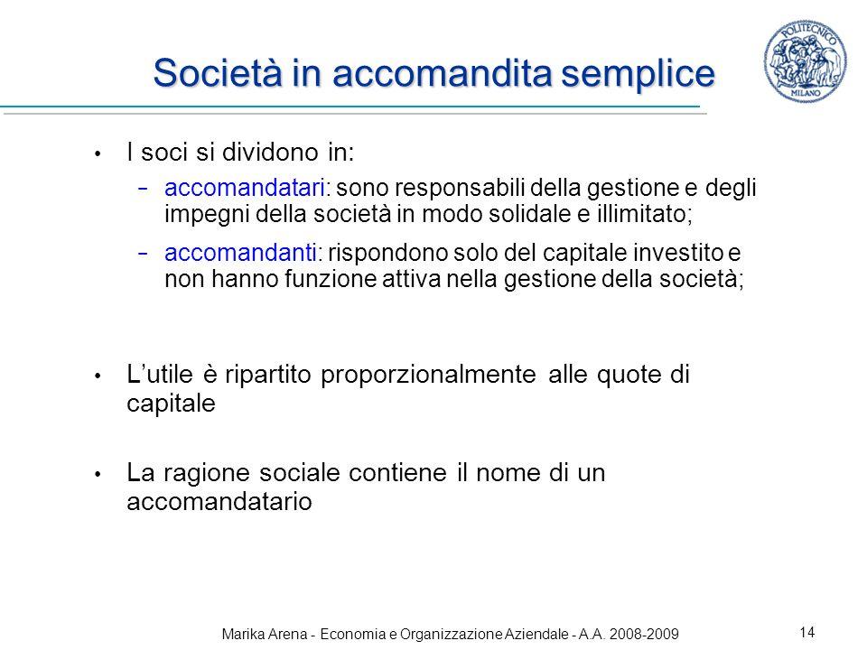 Marika Arena - Economia e Organizzazione Aziendale - A.A. 2008-2009 14 Società in accomandita semplice I soci si dividono in: accomandatari: sono resp
