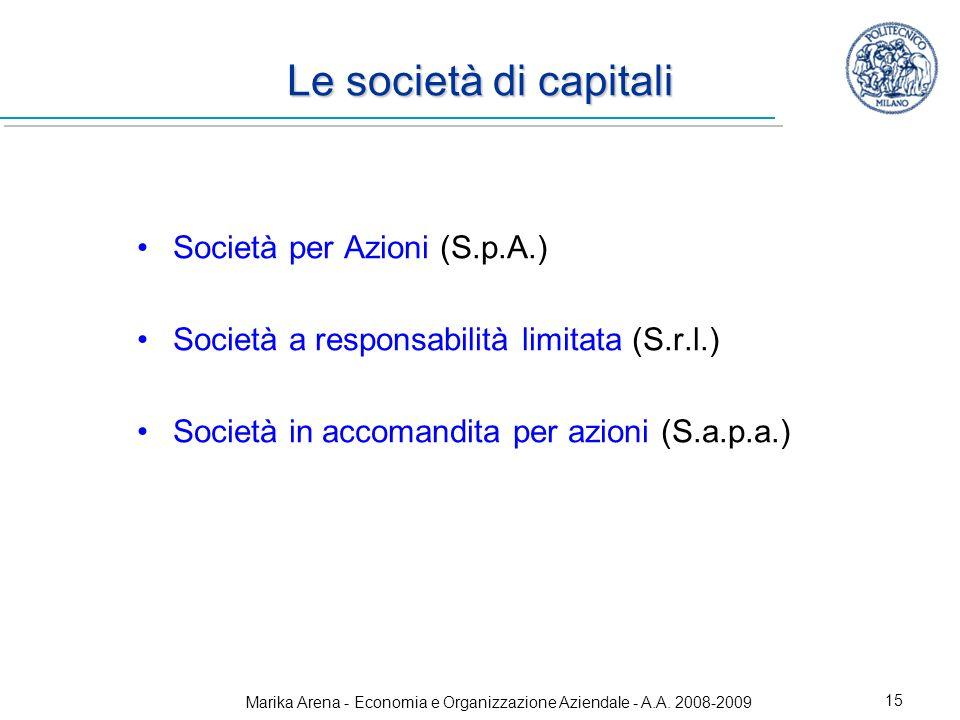 Marika Arena - Economia e Organizzazione Aziendale - A.A. 2008-2009 15 Le società di capitali Società per Azioni (S.p.A.) Società a responsabilità lim
