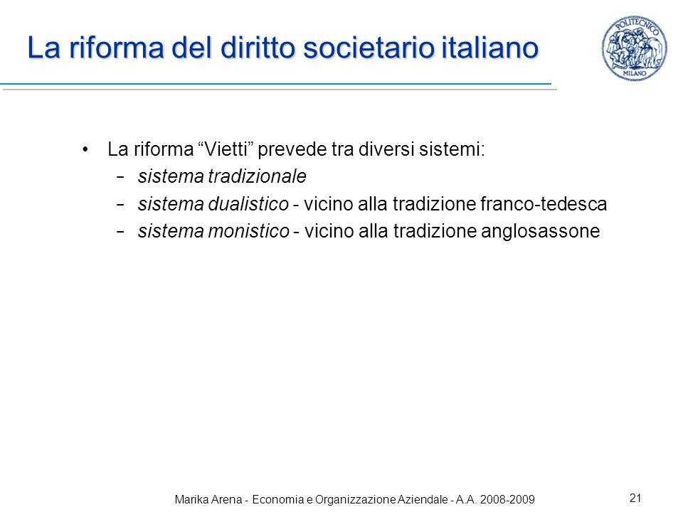 Marika Arena - Economia e Organizzazione Aziendale - A.A. 2008-2009 21 La riforma del diritto societario italiano La riforma Vietti prevede tra divers