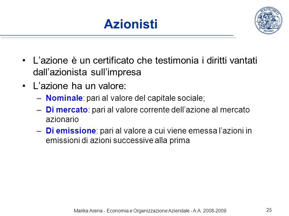 Marika Arena - Economia e Organizzazione Aziendale - A.A. 2008-2009 25 Azionisti Lazione è un certificato che testimonia i diritti vantati dallazionis