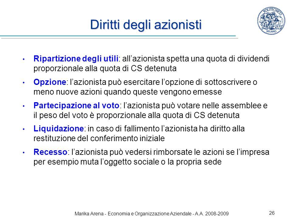 Marika Arena - Economia e Organizzazione Aziendale - A.A. 2008-2009 26 Diritti degli azionisti Ripartizione degli utili: allazionista spetta una quota