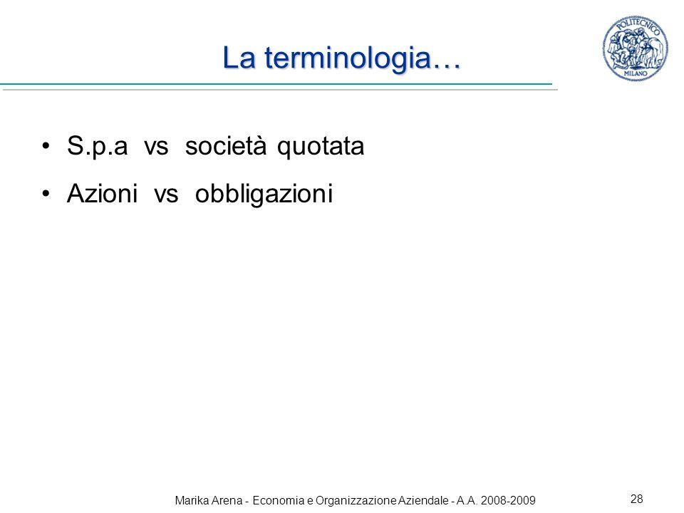 Marika Arena - Economia e Organizzazione Aziendale - A.A. 2008-2009 28 La terminologia… S.p.a vs società quotata Azioni vs obbligazioni
