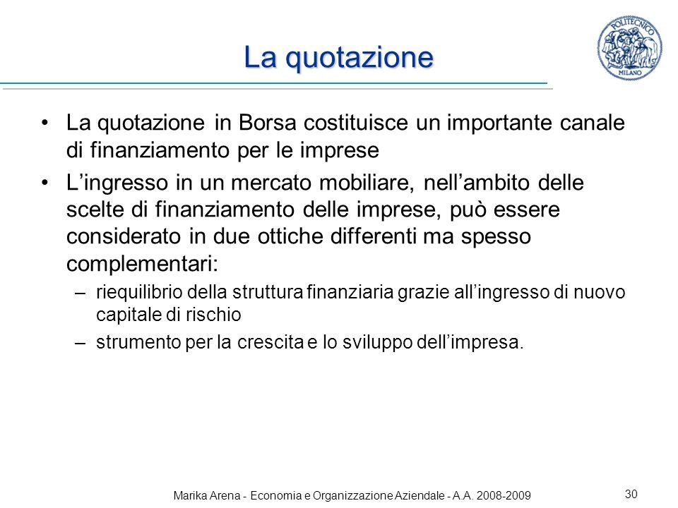 Marika Arena - Economia e Organizzazione Aziendale - A.A. 2008-2009 30 La quotazione La quotazione in Borsa costituisce un importante canale di finanz