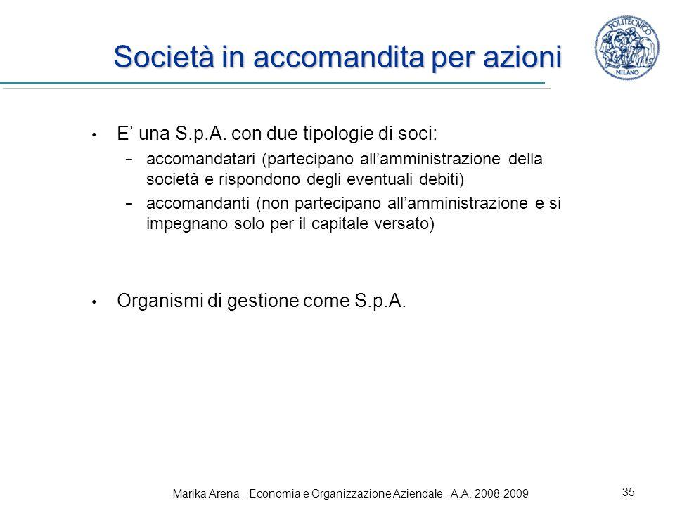 Marika Arena - Economia e Organizzazione Aziendale - A.A. 2008-2009 35 Società in accomandita per azioni E una S.p.A. con due tipologie di soci: accom