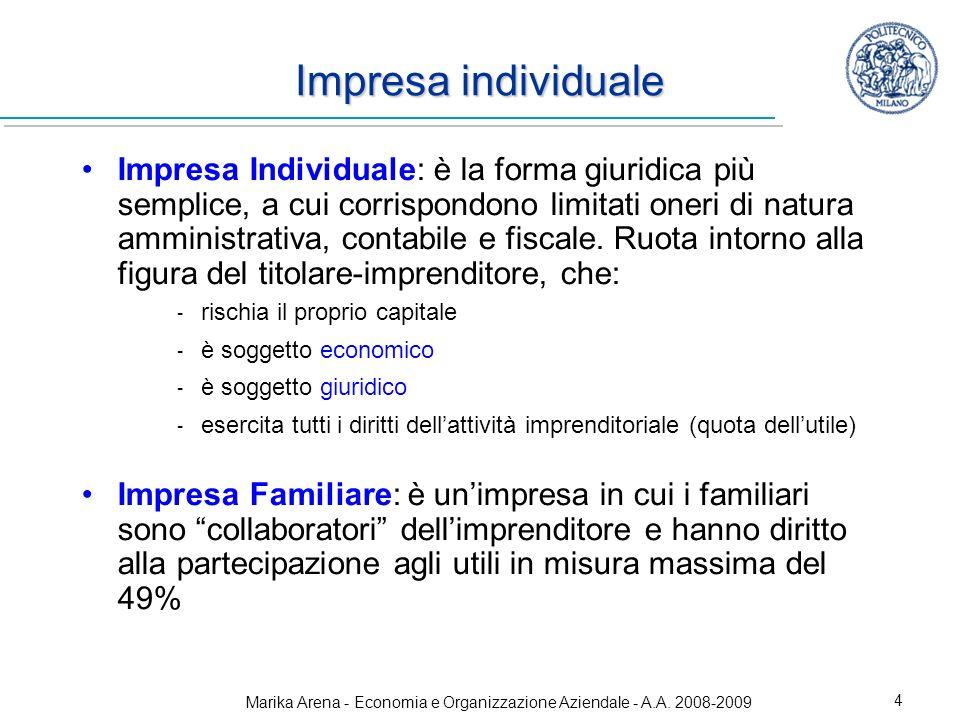 Marika Arena - Economia e Organizzazione Aziendale - A.A. 2008-2009 4 Impresa individuale Impresa Individuale: è la forma giuridica più semplice, a cu