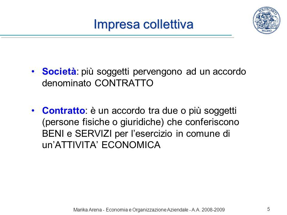 Marika Arena - Economia e Organizzazione Aziendale - A.A. 2008-2009 5 Impresa collettiva Società: più soggetti pervengono ad un accordo denominato CON