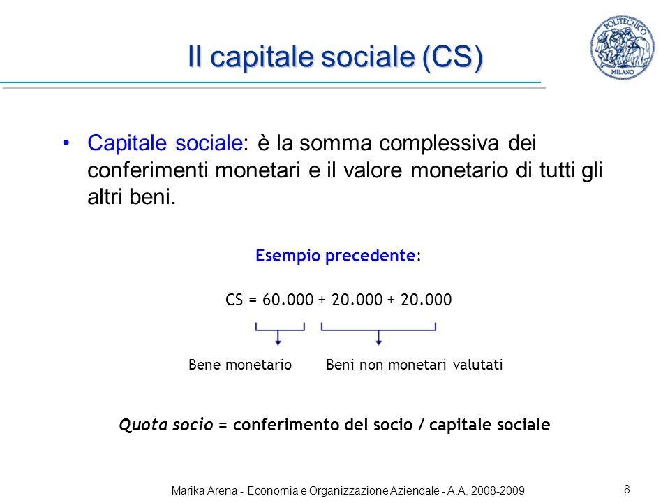 Marika Arena - Economia e Organizzazione Aziendale - A.A. 2008-2009 8 Il capitale sociale (CS) Capitale sociale: è la somma complessiva dei conferimen