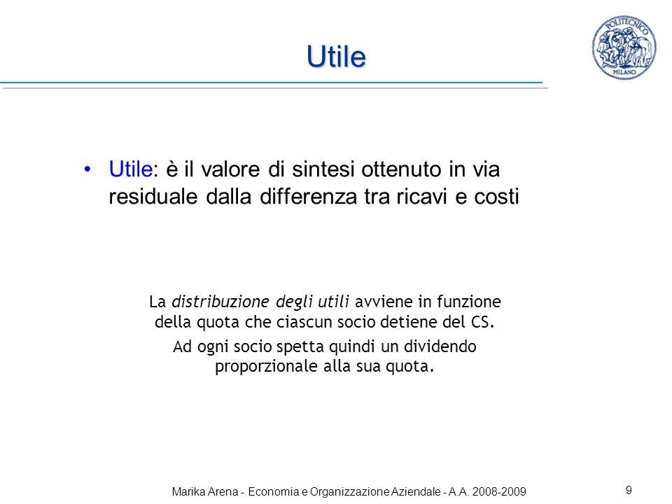 Marika Arena - Economia e Organizzazione Aziendale - A.A. 2008-2009 9 Utile Utile: è il valore di sintesi ottenuto in via residuale dalla differenza t