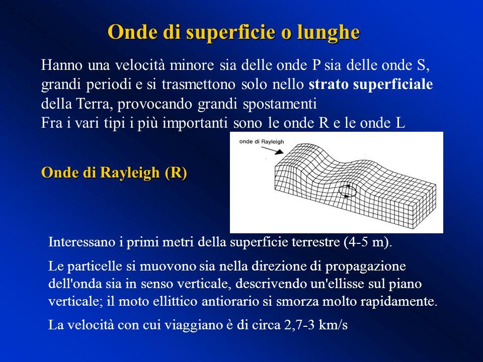 Hanno una velocità minore sia delle onde P sia delle onde S, grandi periodi e si trasmettono solo nello strato superficiale della Terra, provocando gr