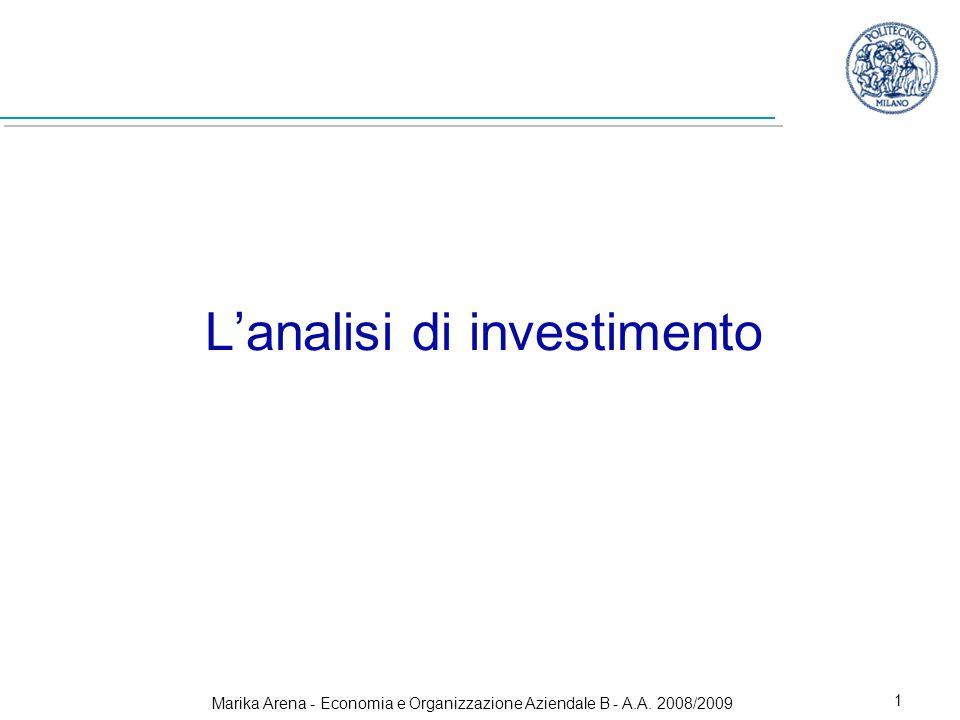 Marika Arena - Economia e Organizzazione Aziendale B - A.A. 2008/2009 1 Lanalisi di investimento