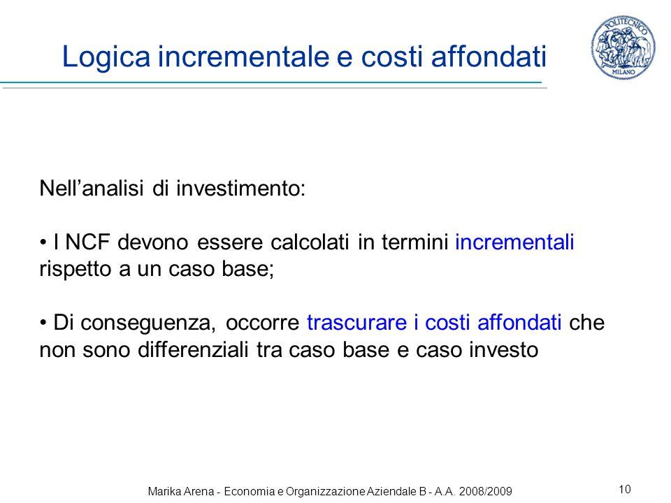 Marika Arena - Economia e Organizzazione Aziendale B - A.A. 2008/2009 10 Logica incrementale e costi affondati Nellanalisi di investimento: I NCF devo