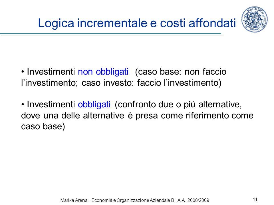 Marika Arena - Economia e Organizzazione Aziendale B - A.A. 2008/2009 11 Logica incrementale e costi affondati Investimenti non obbligati (caso base: