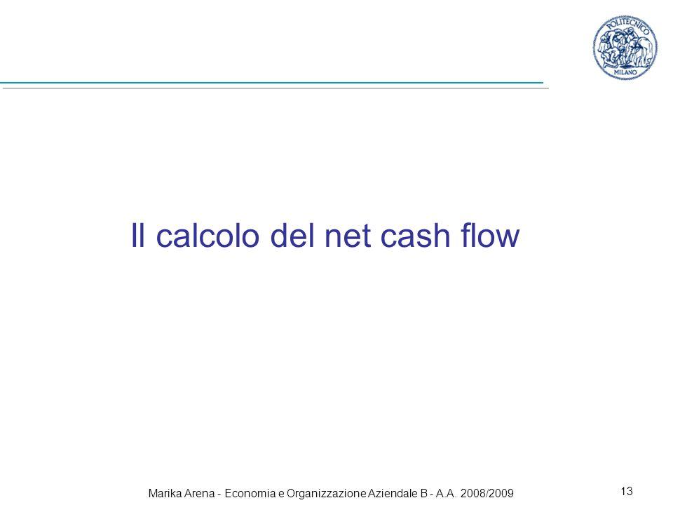 Marika Arena - Economia e Organizzazione Aziendale B - A.A. 2008/2009 13 Il calcolo del net cash flow