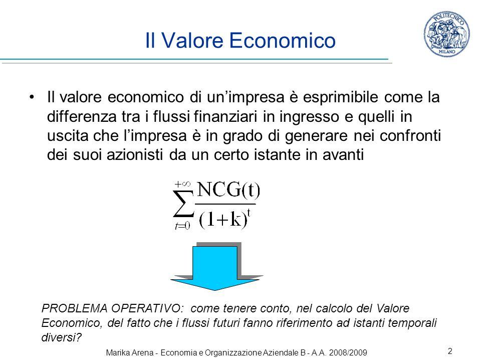 Marika Arena - Economia e Organizzazione Aziendale B - A.A. 2008/2009 2 PROBLEMA OPERATIVO: come tenere conto, nel calcolo del Valore Economico, del f