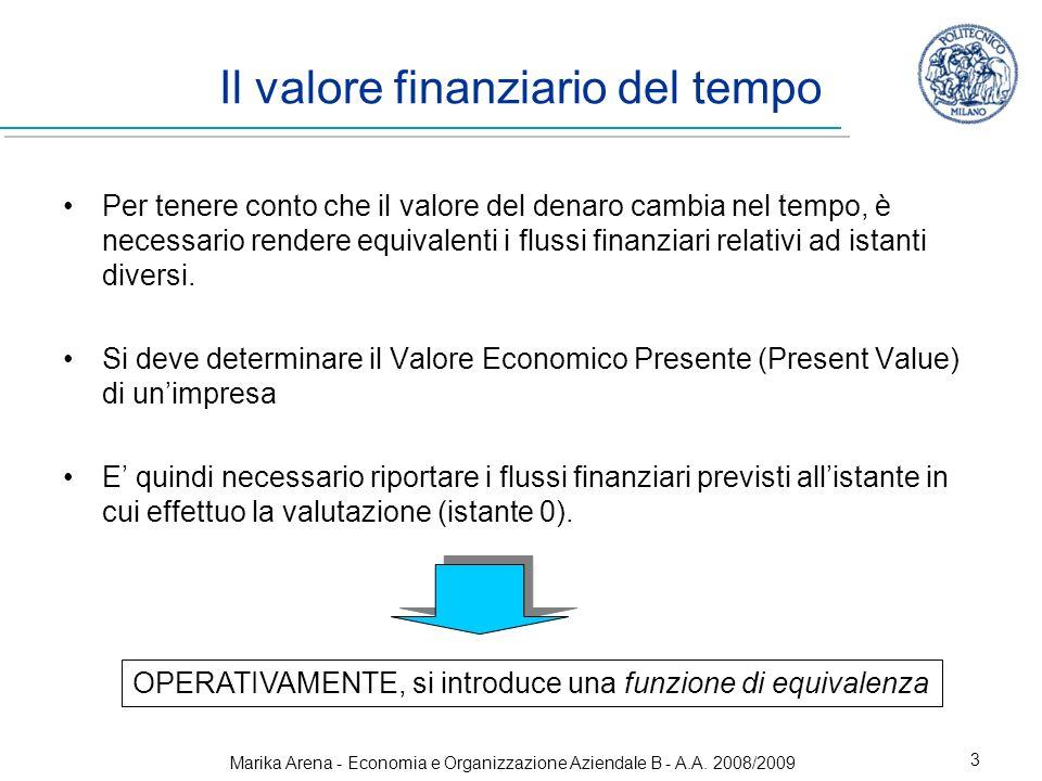 Marika Arena - Economia e Organizzazione Aziendale B - A.A. 2008/2009 3 Per tenere conto che il valore del denaro cambia nel tempo, è necessario rende