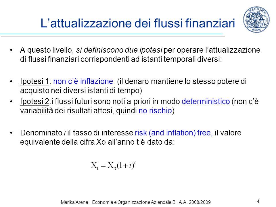 Marika Arena - Economia e Organizzazione Aziendale B - A.A. 2008/2009 4 Lattualizzazione dei flussi finanziari A questo livello, si definiscono due ip