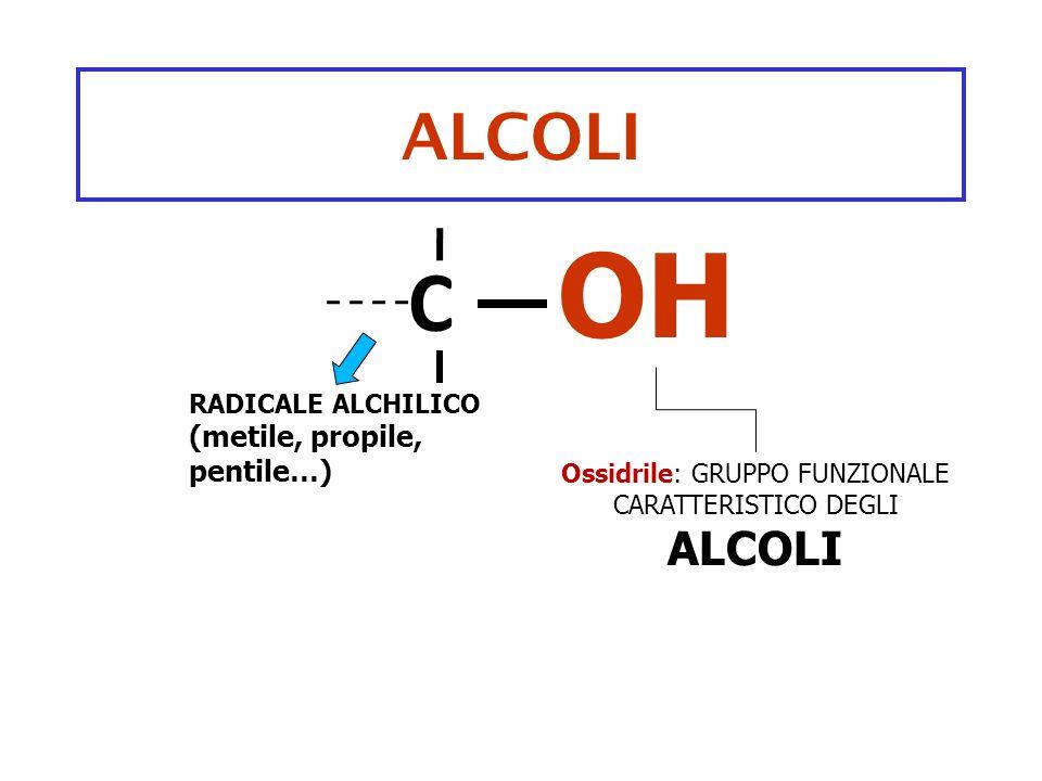 alcoli - 2 Metile-OH METANOLO (alcool metilico) TOSSICO VINO ADULTERATO Etile-OH ETANOLO (alcool etilico) TOSSICO Bevande alcooliche FERMENTAZIONE C 6 H 12 O 6 2C 2 H 5 OH+2CO 2