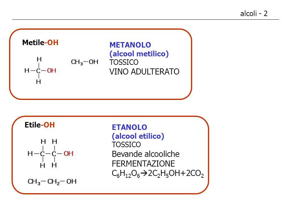 alcoli - 3 GLICOLE ETILENICO (1,2-etandiolo) TOSSICO (velenoso) - ANTICONGELANTE POLIALCOLI 2 o più gruppi -OH Etandiolo: Etan - di - olo GLICEROLO (glicerina) (1,2,3-propantriolo) base per la struttura dei gliceridi CH 2 OH-CHOH-CH 2 OH 2C 2 -OH Suffisso IUPAC