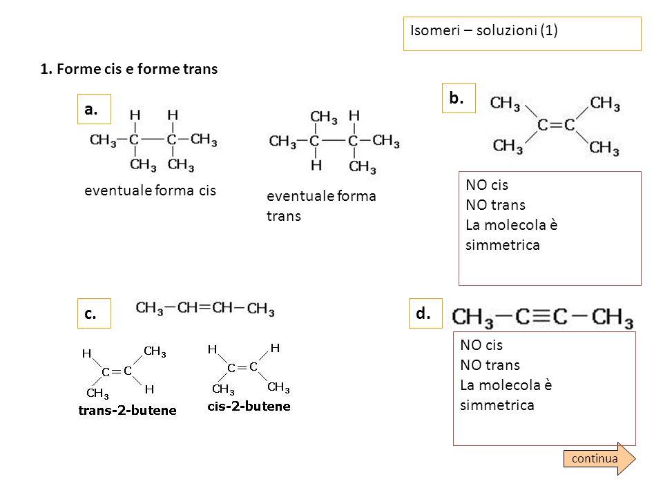 Isomeri – soluzioni (2) a.b.2. Isomeri ottici 3-metilpentano NO 3-metileptano SI c.d.