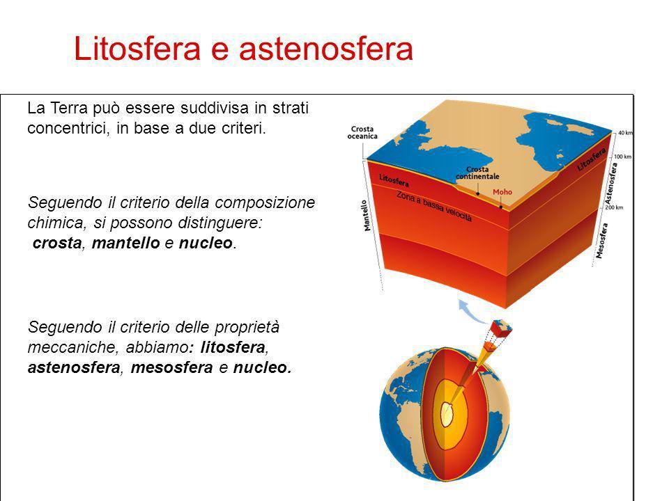 25 La Terra può essere suddivisa in strati concentrici, in base a due criteri. Seguendo il criterio della composizione chimica, si possono distinguere