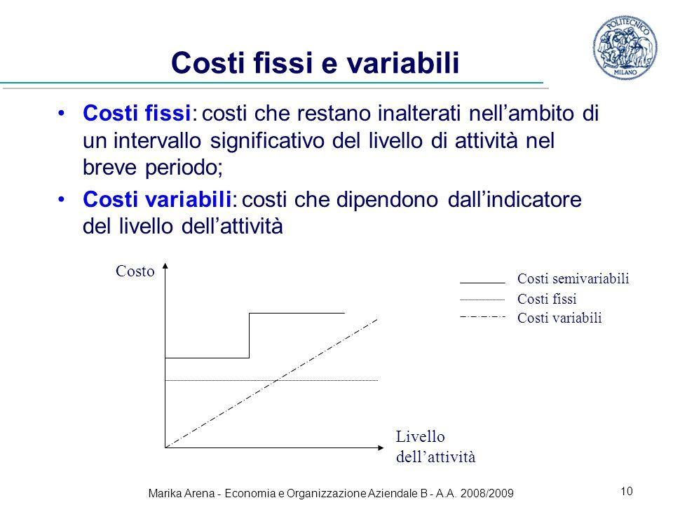 Marika Arena - Economia e Organizzazione Aziendale B - A.A. 2008/2009 10 Costi fissi e variabili Costi fissi: costi che restano inalterati nellambito