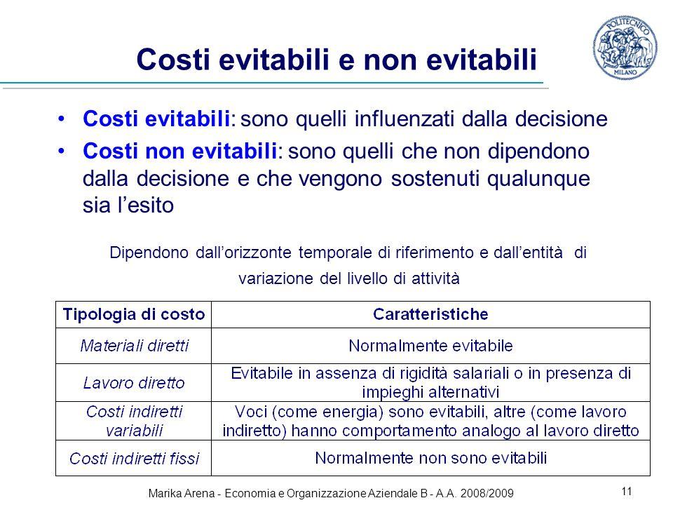 Marika Arena - Economia e Organizzazione Aziendale B - A.A. 2008/2009 11 Costi evitabili e non evitabili Costi evitabili: sono quelli influenzati dall