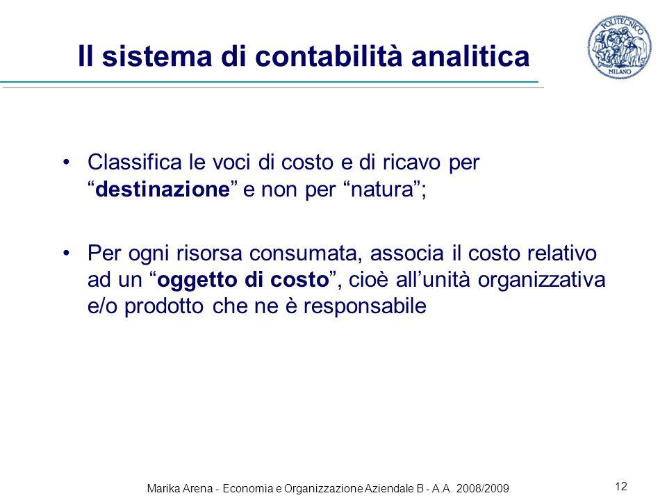 Marika Arena - Economia e Organizzazione Aziendale B - A.A. 2008/2009 12 Il sistema di contabilità analitica Classifica le voci di costo e di ricavo p