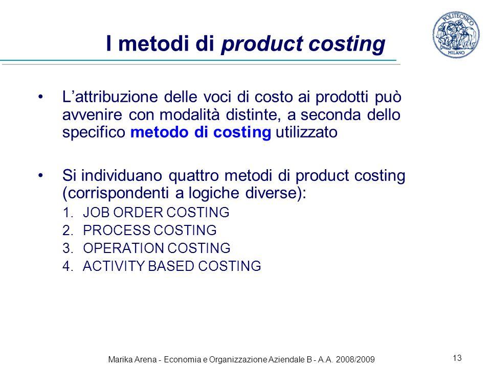 Marika Arena - Economia e Organizzazione Aziendale B - A.A. 2008/2009 13 I metodi di product costing Lattribuzione delle voci di costo ai prodotti può