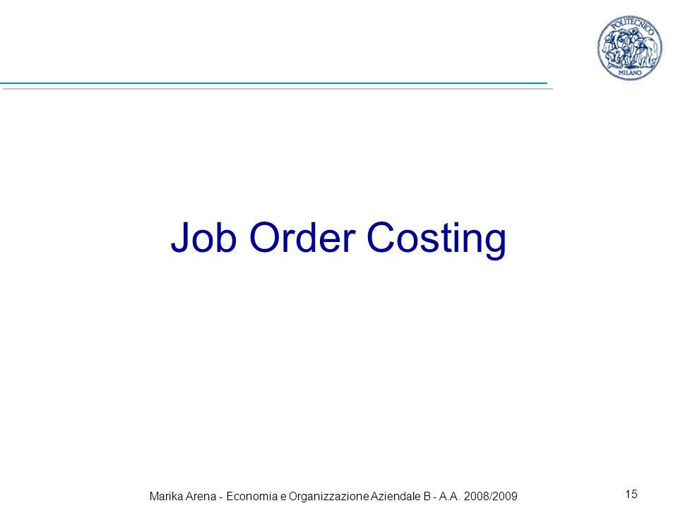 Marika Arena - Economia e Organizzazione Aziendale B - A.A. 2008/2009 15 Job Order Costing