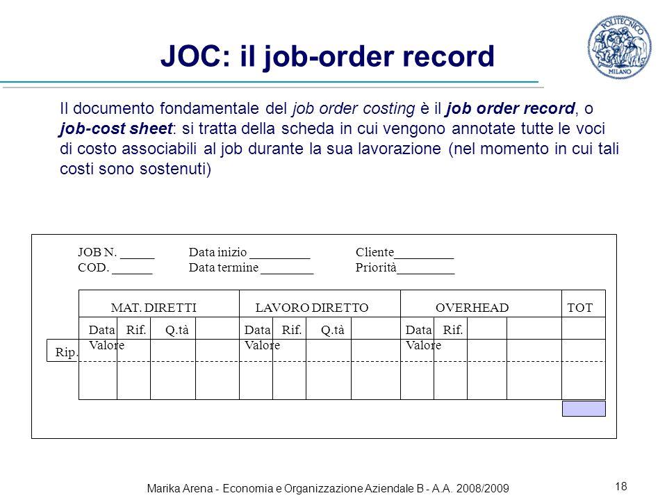 Marika Arena - Economia e Organizzazione Aziendale B - A.A. 2008/2009 18 JOC: il job-order record Il documento fondamentale del job order costing è il