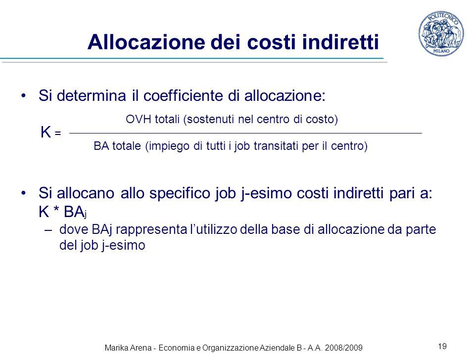 Marika Arena - Economia e Organizzazione Aziendale B - A.A. 2008/2009 19 Allocazione dei costi indiretti Si determina il coefficiente di allocazione: