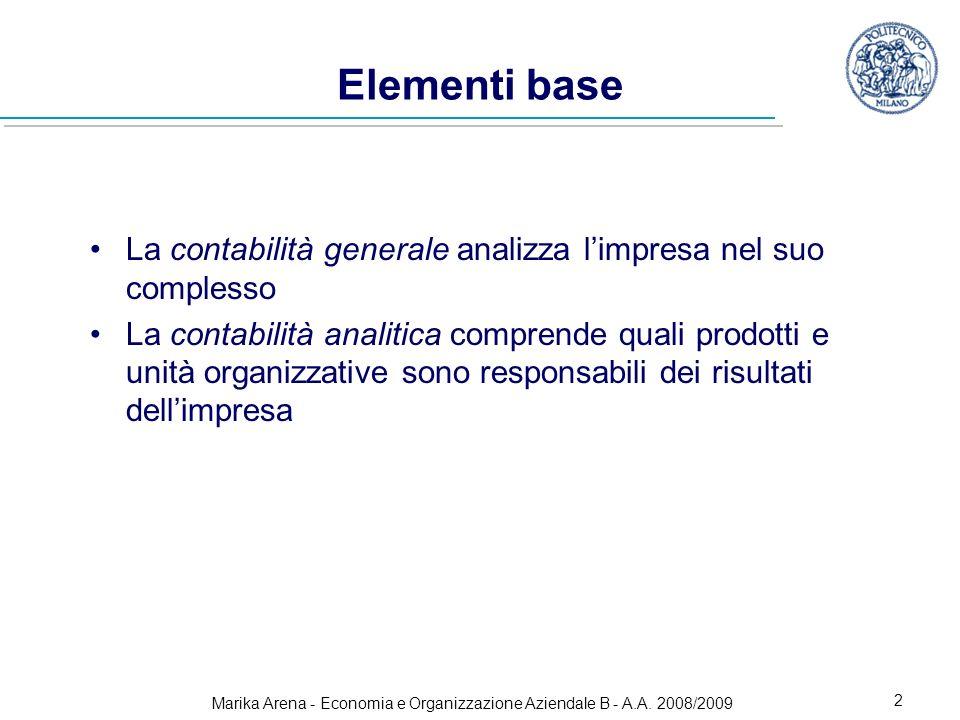 Marika Arena - Economia e Organizzazione Aziendale B - A.A. 2008/2009 2 Elementi base La contabilità generale analizza limpresa nel suo complesso La c