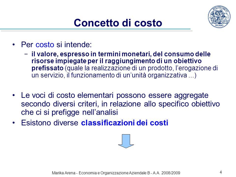 Marika Arena - Economia e Organizzazione Aziendale B - A.A. 2008/2009 4 Concetto di costo Per costo si intende: il valore, espresso in termini monetar