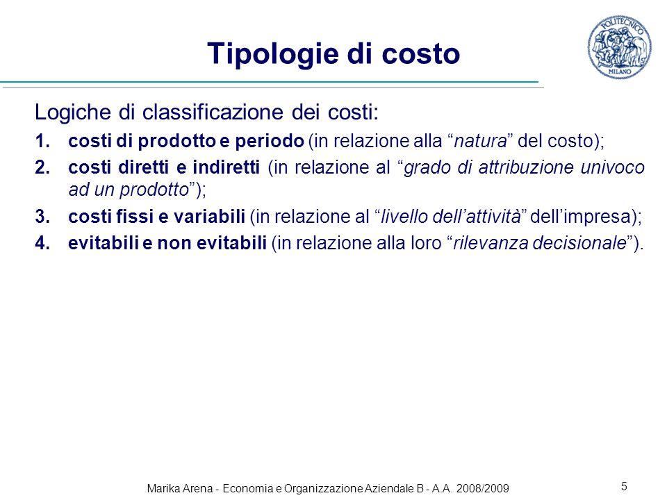 Marika Arena - Economia e Organizzazione Aziendale B - A.A. 2008/2009 5 Tipologie di costo Logiche di classificazione dei costi: 1.costi di prodotto e