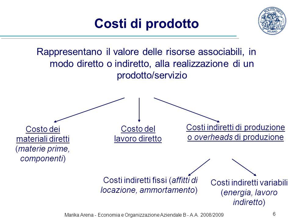 Marika Arena - Economia e Organizzazione Aziendale B - A.A. 2008/2009 6 Costi di prodotto Rappresentano il valore delle risorse associabili, in modo d