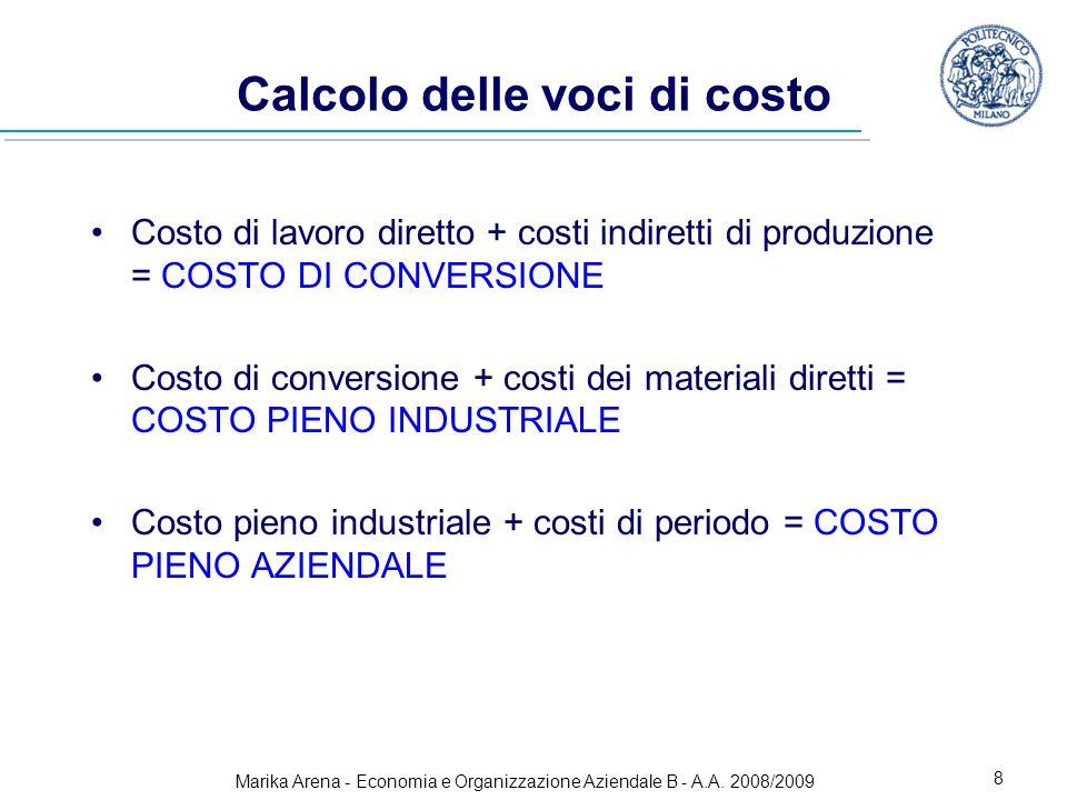Marika Arena - Economia e Organizzazione Aziendale B - A.A. 2008/2009 8 Calcolo delle voci di costo Costo di lavoro diretto + costi indiretti di produ