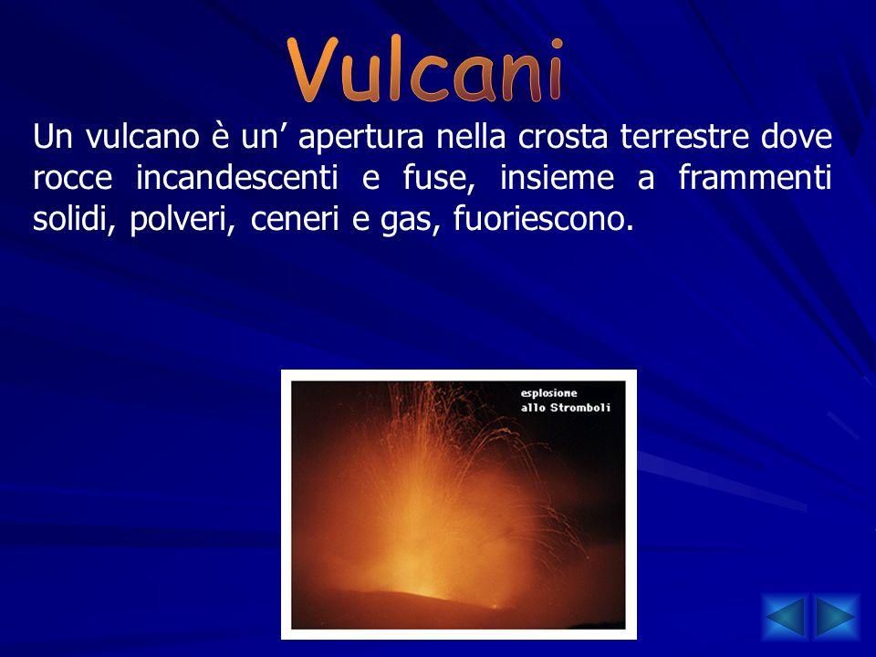 Un vulcano è un apertura nella crosta terrestre dove rocce incandescenti e fuse, insieme a frammenti solidi, polveri, ceneri e gas, fuoriescono.