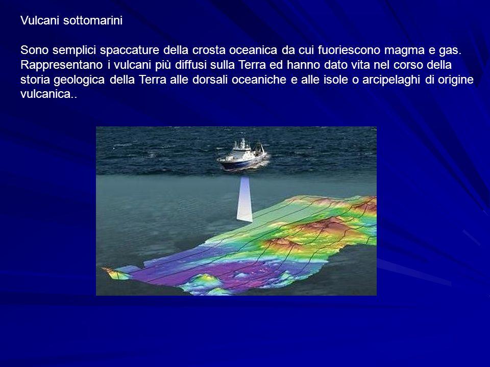 Vulcani sottomarini Sono semplici spaccature della crosta oceanica da cui fuoriescono magma e gas. Rappresentano i vulcani più diffusi sulla Terra ed