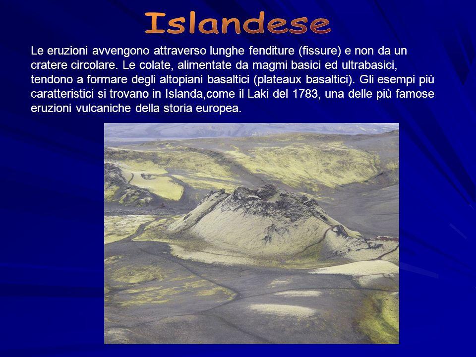 Le eruzioni avvengono attraverso lunghe fenditure (fissure) e non da un cratere circolare. Le colate, alimentate da magmi basici ed ultrabasici, tendo