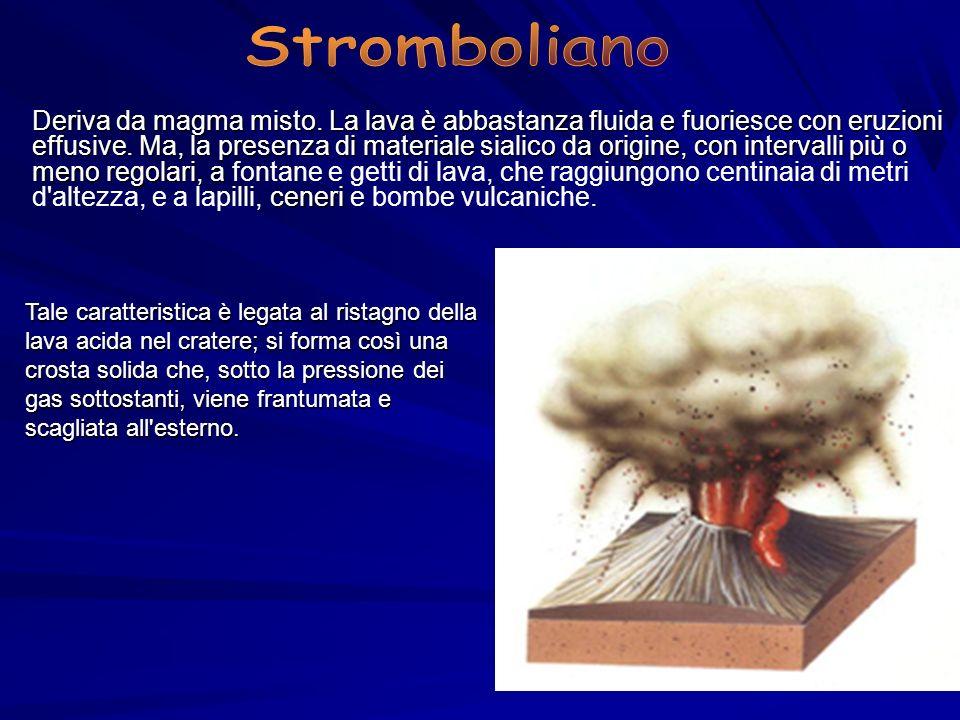 Deriva da magma misto. La lava è abbastanza fluida e fuoriesce con eruzioni effusive. Ma, la presenza di materiale sialico da origine, con intervalli