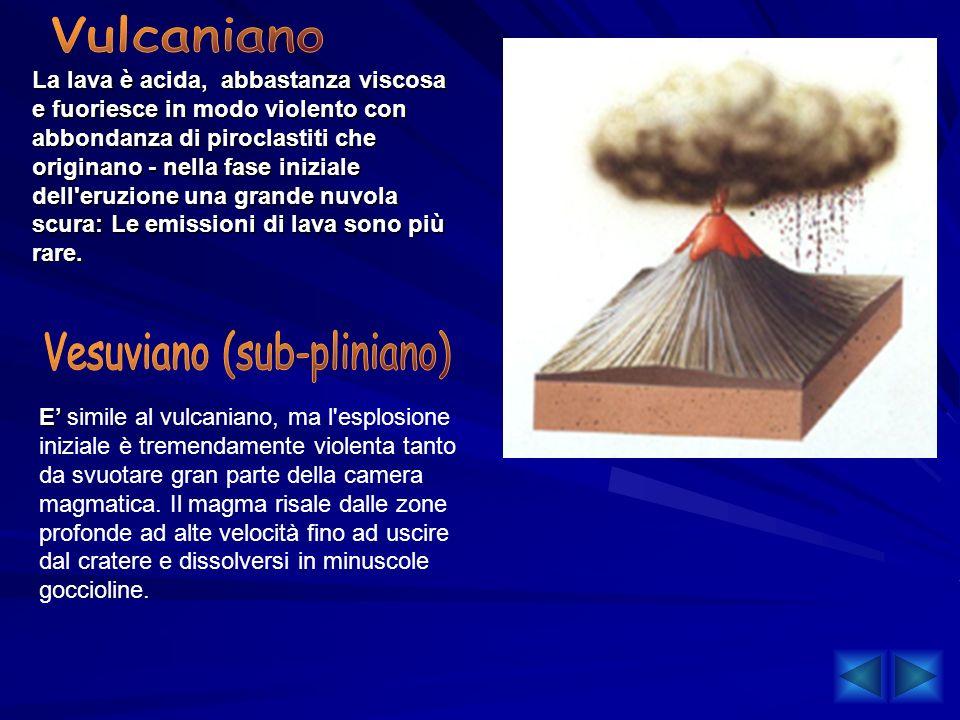 La lava è acida, abbastanza viscosa e fuoriesce in modo violento con abbondanza di piroclastiti che originano - nella fase iniziale dell'eruzione una