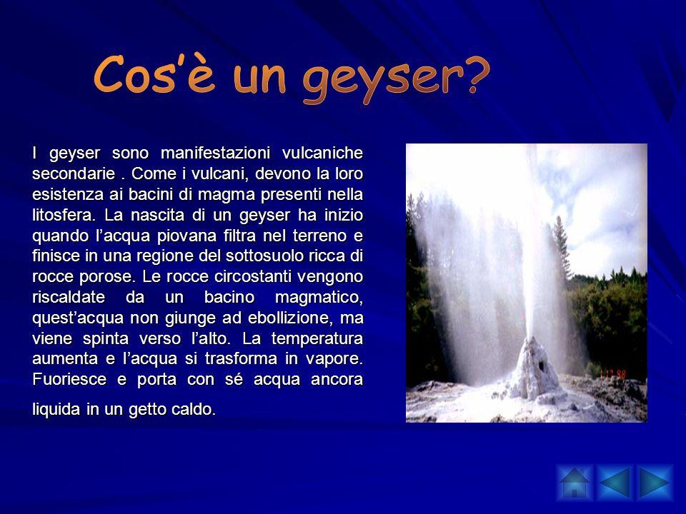 I geyser sono manifestazioni vulcaniche secondarie. Come i vulcani, devono la loro esistenza ai bacini di magma presenti nella litosfera. La nascita d
