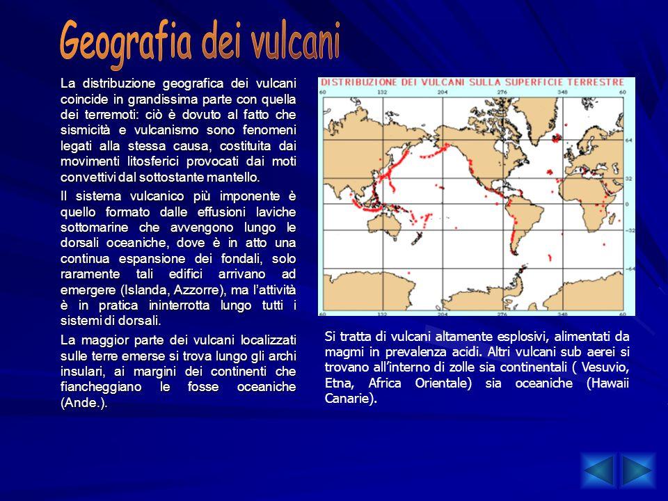 La distribuzione geografica dei vulcani coincide in grandissima parte con quella dei terremoti: ciò è dovuto al fatto che sismicità e vulcanismo sono