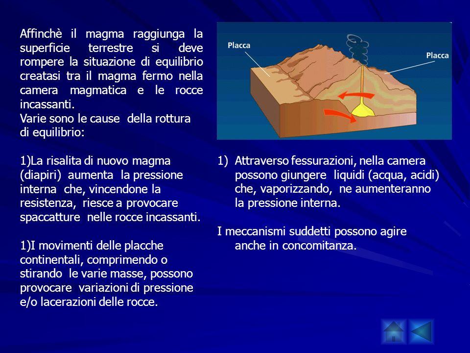 Affinchè il magma raggiunga la superficie terrestre si deve rompere la situazione di equilibrio creatasi tra il magma fermo nella camera magmatica e l