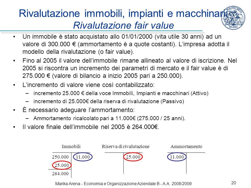 Marika Arena - Economia e Organizzazione Aziendale B - A.A. 2008/2009 20 Rivalutazione immobili, impianti e macchinari: Rivalutazione fair value Un im